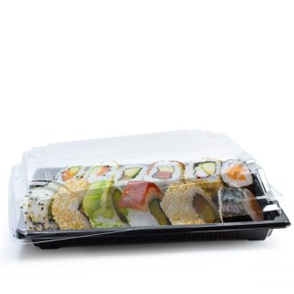 Large Black Sushi Tray And Clear Lid