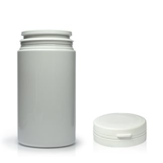 100ml White Plastic Pill Jar With Snap-Hinged Cap