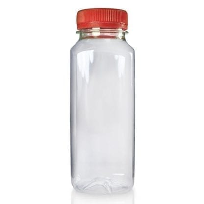 250ml Plastic Square Juice Bottle With Red Cap