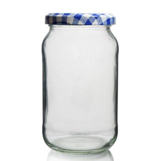 1LB Glass Preserve Jar & Patterned Twist-Off Lid