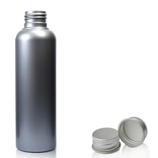 100ml Silver Plastic Bottle & Silver Cap
